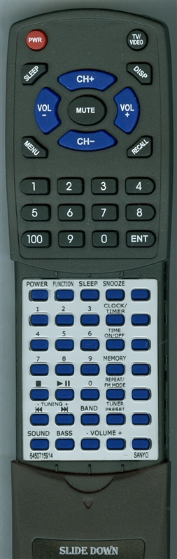 SANYO 645 071 5914 RB-DTA120 Custom Built Replacement Redi Remote