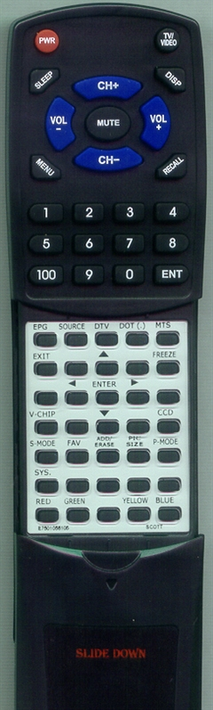 SCOTT E7501-056105 KC01B1 Custom Built Replacement Redi Remote