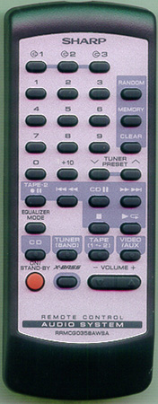 SHARP RRMCG0358AWSA Genuine  OEM Original Remote
