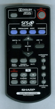 SHARP RRMCGA200AWSA Genuine OEM Original Remote
