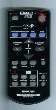 SHARP RRMCGA251AWSA Genuine OEM Original Remote