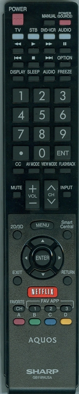 Sharp TV RRMCGB118WJSA OEM Remote Control