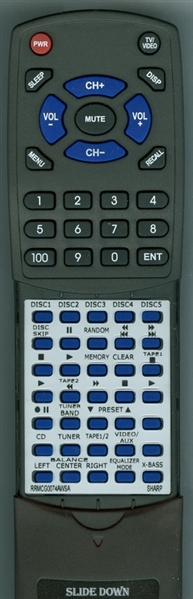 SHARP RRMCG0074AWSA RRMCG0074AWSA Custom Built Replacement Redi Remote
