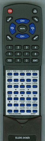 SHARP RRMCG0395AWSA Custom Built Redi Remote