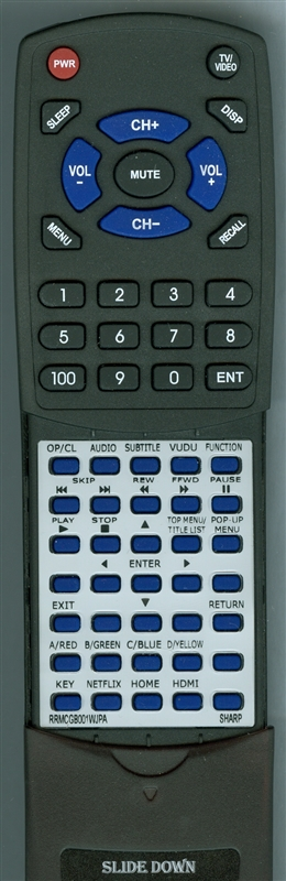 SHARP RRMCGB001WJPA GB001WJPA Custom Built  Redi Remote