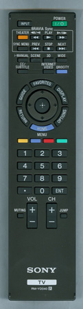 SONY 1-487-829-12 RM-YD040 Genuine OEM Original Remote