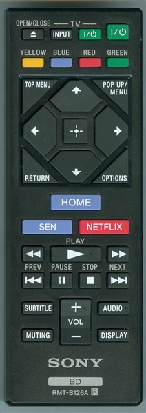Sony DVD/Blu-Ray Replacement Remote Control: 1-492-678-11