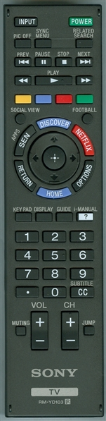 SONY 1-492-767-21 RM-YD103 Genuine OEM Original Remote