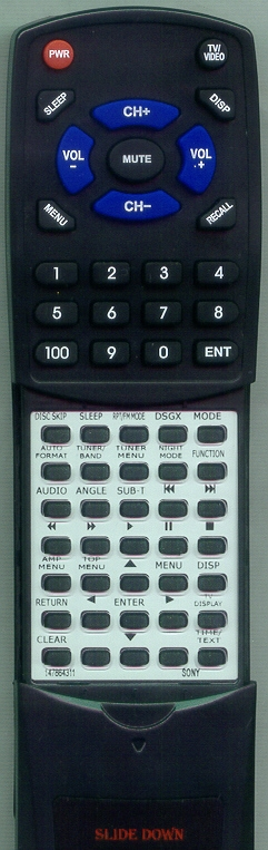 SONY 1-478-643-11 RM-SS250 Custom Built Replacement Redi Remote