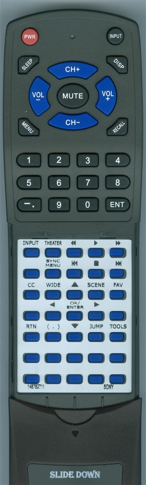 SONY 1-487-827-11 RM-YD035 Custom Built Replacement Redi Remote