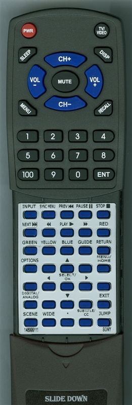 SONY 1-489-991-11 RM-YD081 Custom Built  Replacement Redi Remote