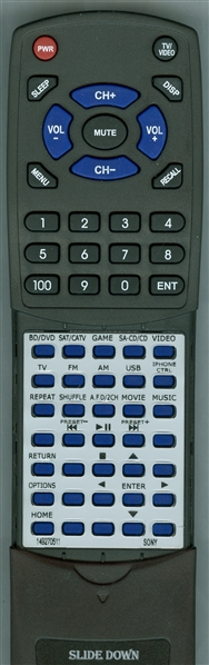 SONY 1-492-705-11 RM-AAU190 Custom Built Replacement Redi Remote