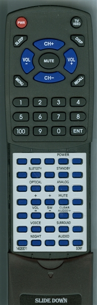 SONY 1-492-930-11 RMT-AH100U  Custom Built   Replacement Redi Remote