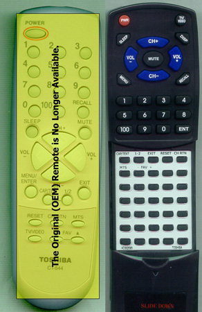 TOSHIBA AD302093 CT-844 Custom Built Replacement Redi Remote