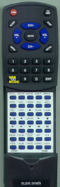 TOSHIBA AG000387 SE-R0094 INSERT Custom Built Replacement Redi Remote