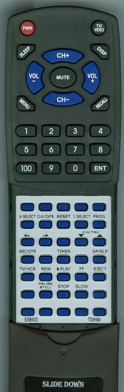 TOSHIBA BZ684333 VC-622 Custom Built Replacement Redi Remote