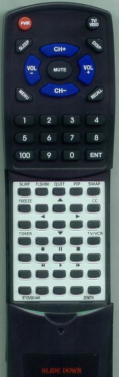 ZENITH 6710V00144A Custom Built Replacement Redi Remote