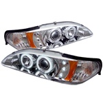 Ford Mustang 94-98 1PC CCFL LED Projector Headlights - Chrome