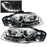 Audi A4 06-08 DRL LED Projector Headlights - Chrome