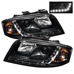 Audi A6 02-04 DRL LED Projector Headlights - Black