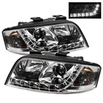 Audi A6 02-04 DRL LED Projector Headlights - Chrome