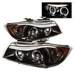 BMW E90 06-08 4DR Halo Amber Projector Headlights - Black
