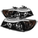 BMW E90 3-Series 06-08 4DR Halo CCFL Amber Projector Headlights - Black