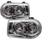 Chrysler 300C 05-07 Halo LED Projector Headlights - Chrome