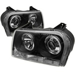 Chrysler 300 05-07 Halo LED Projector Headlights - Black