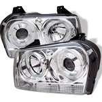 Chrysler 300 05-07 Halo LED Projector Headlights - Chrome