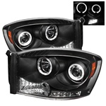 Dodge Ram 06-08 Halo LED Projector Headlights - Black