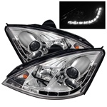 Ford Focus 00-04 DRL LED Projector Headlights - Chrome