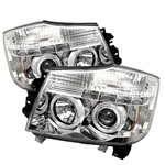 Nissan Titan 04-07 Halo LED Projector Headlights - Chrome