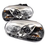 Volkswagen Golf IV 99-05 DRL LED Projector Headlights - Chrome