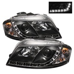 Audi A3 06-08 DRL LED Projector Headlights - Black