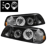 FORD MUSTANG 87-93 LED 1PC PROJECTOR HEADLIGHTS AMBER - BLACK