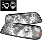 FORD MUSTANG 87-93 LED 1PC PROJECTOR HEADLIGHTS AMBER - CHROME