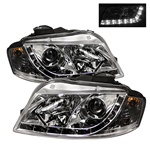 Audi A3 06-08 DRL LED Projector Headlights - Chrome
