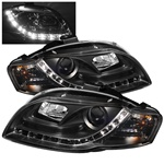 Audi A4 06-08 DRL LED Projector Headlights - Black