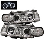 BMW E38 99-01 1PC Halo Amber Projector Headlights - Chrome