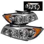 BMW E90 06-08 4DR Halo Amber Projector Headlights - Chrome