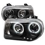 Chrysler 300C 05-07 CCFL LED Projector Headlights - Black