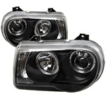 Chrysler 300C 05-07 Halo LED Projector Headlights - Black