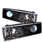 Chevy C-10 88-98 C/K Series Halo Projector Headlights - Black