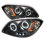 Chevy Cobalt 05-07 /05-07 Pontiac G5 Halo Projector Headlight CCFL LED Projector Headlights - Black