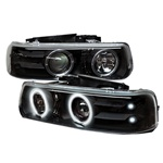 Chevy Silverado 99-02 CCFL LED Projector Headlights - Black