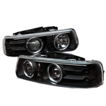 Chevy Silverado 99-02 Halo LED Projector Headlights - Black