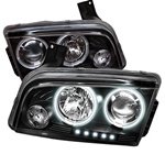 Dodge Charger 05-08 CCFL LED Projector Headlights - Black