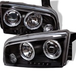 Dodge Charger 05-08 Halo LED Projector Headlights - Black