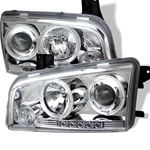 Dodge Charger 05-08 Halo LED Projector Headlights - Chrome